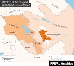 Hartă a incursiunilor Azerbaijanului în Armenia.