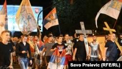 Фотографија од протестите на поддржувачи на Српската православна црква во Црна Гора - Подгорица, 23 август 2020 година.