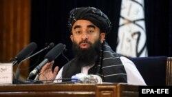 Taliban government spokesman Zabihullah Mujahid (file photo)