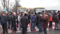 Ukrainian Miners Block Road