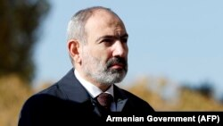 ARMENIA -- Armenian Prime Minister Nikol Pashinian attends a memorial service in Echmiadzin for soldiers killed in the Nagorno-Karabakh conflict, November 22, 2020.