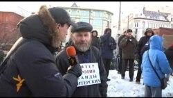 Участники акции у Соловецкого камня