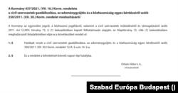 Orbán Viktor jegyzi a visszavonásról szóló rendeletet, amely 2021. július 16-án jelent meg a Magyar Közlönyben.