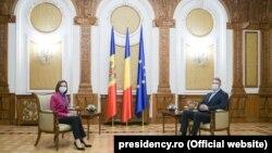 Președinții Maia Sandu și Klaus Iohannis la Palatul Cotroceni
