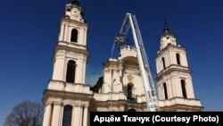 Касьцёл у Будславе, тушэньне пажару, 11 траўня 2021 году.