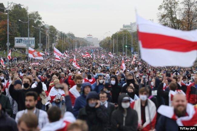 Мирный протест против итогов выборов президента Беларуси, Минск, 27 сентября