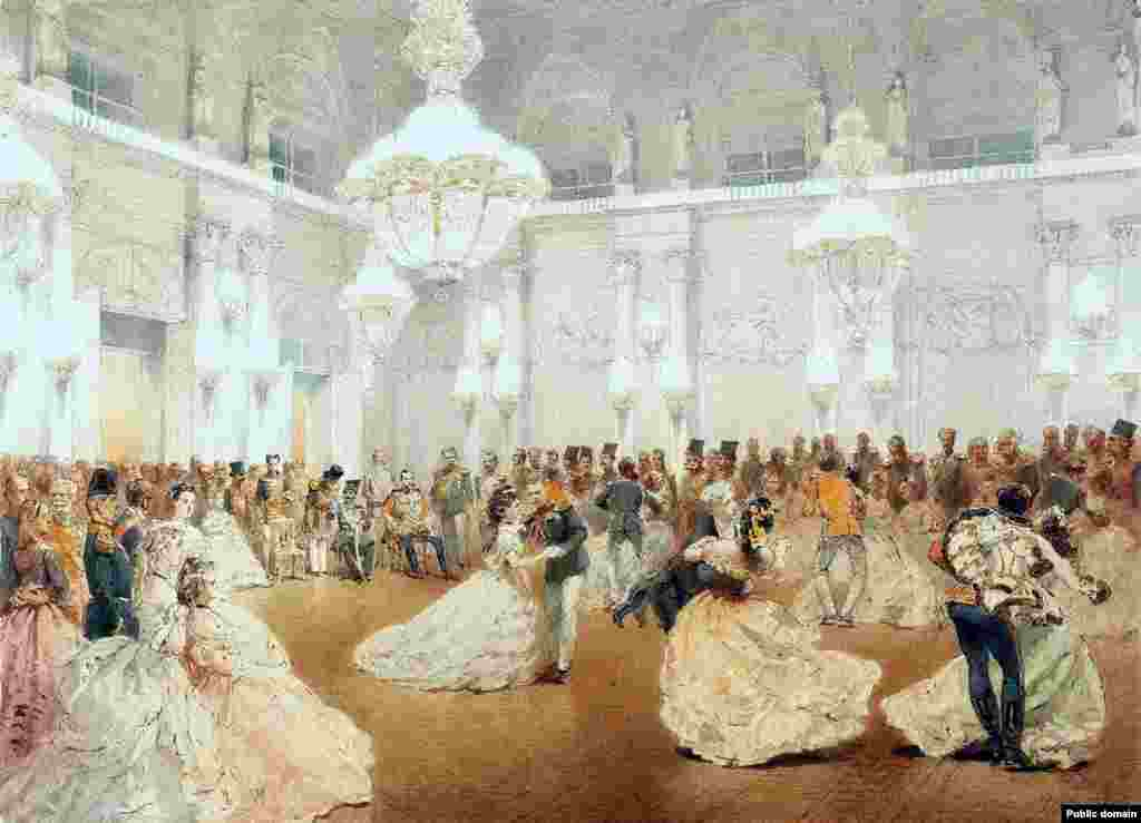 Russia has a long history of formal balls, which were first introduced to the country in the late 1600s by Peter the Great, who had observed them during his travels in Europe. This painting captures one of the highly formal dances in St. Petersburg in 1873.