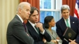 (L-R) U.S. Vice President Joe Biden, Deputy National Security Advisor Tony Blinken, National Security Advisor Susan Rice and Secretary of State John Kerry listen as President Barack Obama and Iraqi Prime Minister Nuri al-Maliki address reporters after the
