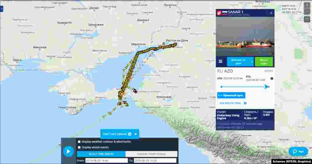Путь танкера Sanar-1