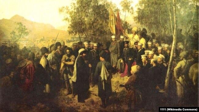 Теодор Горшельт. Пленный Шамиль перед главнокомандующим князем Барятинским 25 августа 1859 года (Википедия)