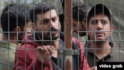 Migrants detained in Lithuania after crossing the border from Belarus.
