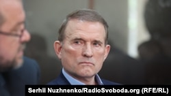 Viktor Medvedchuk appears in court in Kyiv on May 13.