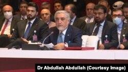 عبدالله عبدالله رئیس شورای عالی مصالحه ملی افغانستان در مراسم مقدماتی گفتگوهای بین افغانها در قطر