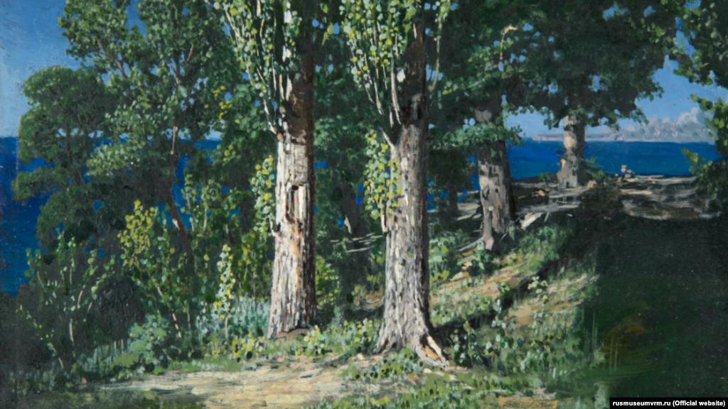 Картина Куїнджі «Кипариси на узбережжі моря. Крим» (1887)