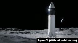 Иллюстрация модуля космического корабля SpaceX Starship, который планируют отправить на поверхность Луны.