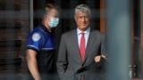 NETHERLANDS -- Kosovar President Hashim Thaci leaves after being interviewed by war crimes prosecutors after being indicted by a special tribunal, in The Hague, July 13, 2020