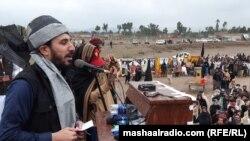 منظور پشتین، رهبر جنبش تحفظ پشتون در جریان یک گردهمایی در پاکستان