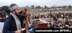 منظور پشتین، رهبر جنبش تحفظ پشتون در یک گردهمایی در پاکستان