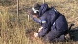 Ольга, сотрудница «The HALO Trust», проверяет поверхность грунта на наличие взрывоопасных предметов