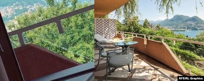 Отель Villa Principe Leopoldo в Лугано, в котором не первый раз останавливается семья Слуцкого. Мы нашли его по кадрам из видео в тиктоке (слева), на котором виден дизайн балкона, а также по видам из окна номера