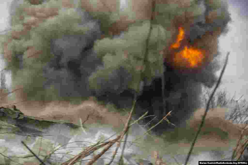 An explosion goes off near Ukrainian troops but no one was injured.