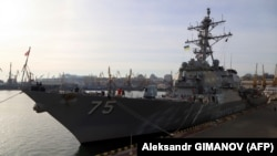 The USS Donald Cook missile destroyer is docked in the Ukrainian Black Sea port of Odesa in February 2019.