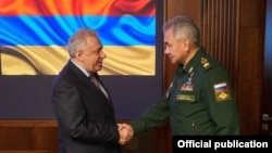 Russia - Russian Defense Minister Sergei Shoigu meets with his Armenian counterpart Vagharshak Harutiunian, Moscow, May 28, 2021.