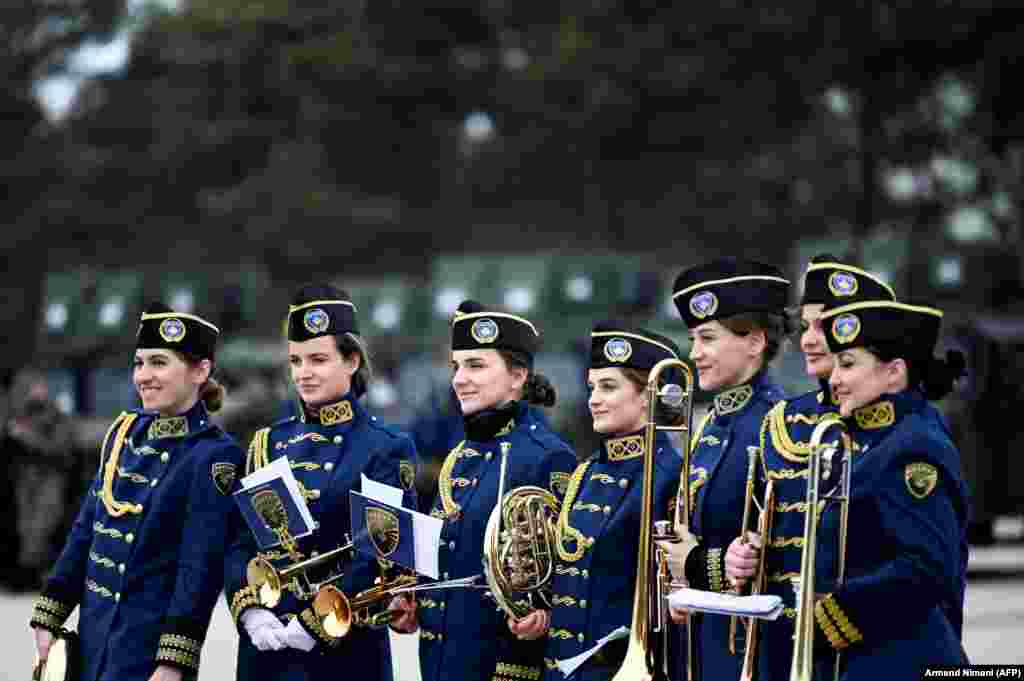 Members of the Kosovo Security Forces band attend a ceremony to mark the 13th anniversary of Kosovo's declaration of independence, in Pristina on February 17. (AFP/Armend Nimani)