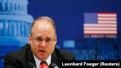 U.S. special envoy for arms control Marshall Billingslea speaks to reporters after a meeting with Russian Deputy Foreign Minister Sergei Ryabkov in Vienna on June 23.