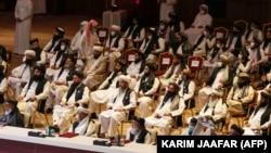 Члены делегации «Талибана» на открытии мирных переговоров между правительством Афганистана и «Талибаном» в столице Катара Дохе 12 сентября 2020 года