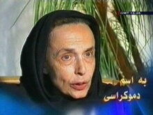 Iran - An image grab taken from footage broadcast 16 July 2007 by the Islamic Republic of Iran News Network (IRINN) shows US-Iranian Haleh Esfandiari talking to a camera at an unidentified place and time in Iran, 17Jul2007