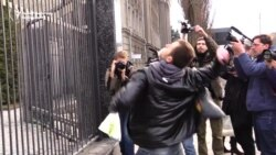 Ukraine Protesters Attack Russian Embassy