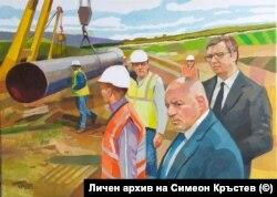 Картината на Симеон Кръстев с Бойко Борисов и Александър Вучич.