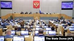 რუსეთის სახელმწიფო დუმის სხდომა. 2021 წ. 19 მაისის ფოტო.