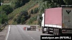 An Iranian cargo truck bound for Yerevan stuck in the Syunik region of Armenia due to an Armenian-Azerbaijani border crisis. August 27, 2021.