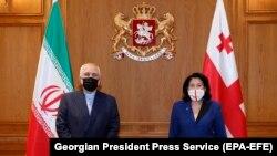 Իրանի արտգործնախարար Մոհամմադ Զարիֆը և Վրաստանի նախագահ Սալոմե Զուրաբիշվիլին, 28-ը հունվարի, 2021թ.