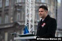 Márki-Zay Péter az ellenzéki pártok demonstrációján Budapesten 2019. március 15-én