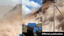 Оползень на месторождении Кара-Кече. 14 сентября 2020 года. Скриншот из видео очевидцев.