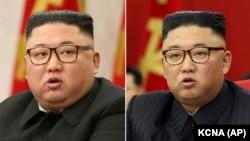 Kim Conq Un bu ilin fevralında (solda) və iyununda