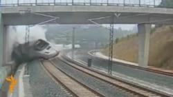 Аварія поїзда в Іспанії, відео з камери спостереження