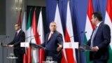 Poljski premijer Mateuš Moravijecki, mađarski premijer Viktor Orban i lider italijanske Lige Mateo Salvini posle sastanka u Budimpešti, 1. april 2021.