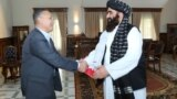 Afghanistan -- Taliban acting foreign minister Amir Khan Muttaqi امیر خان متقی during meeting with Kirghizstan vice president in security in Kabul, 23 September 2021