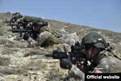 Azerbaijani special forces take part in Azerbaijani-Turkish military exercises on August 9.