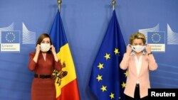 Președinta R. Moldova, Maia Sandu, și președinta Comisiei Europene, Ursula von de Leyen. Bruxelles, 18 ianuarie 2021