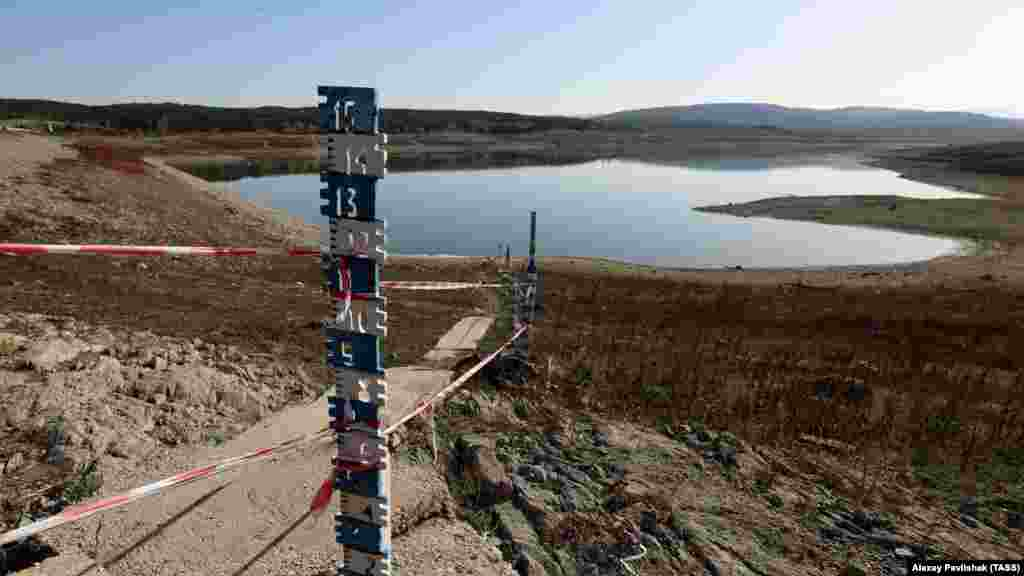 Water levels have dropped dramatically in Crimea's Simferopol Reservoir. The Russian-controlled administration of Crimea says 2020 has been the driest year in 150 years.