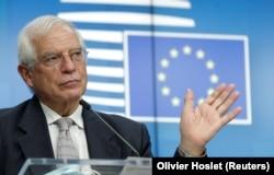 Еуроодақ сыртқы істер кеңесінің төрағасы Жозеп Боррель сыртқы істер министрлерінің Брюссельдегі кездесуінде. 21 қыркүйек 2020 жыл.