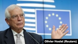 BELGIUM -- The EU's foreign policy chief Josep Borrell gives a press briefing at the end of a foreign affairs ministers council in Brussels, September 21, 2020
