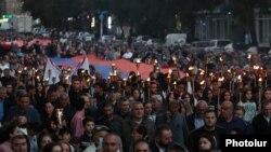 Факельное шествие в Ереване, 26 сентября 2021 года