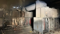 Сгоревшая подстанция в Сухуми, Абхазия