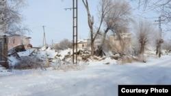 Поселок Рудник после переселения его жителей. Карагандинская область.